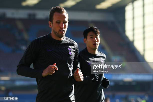 Harry Kane and HeungMin Son of Tottenham Hotspur warm up prior to the Premier League match between Burnley FC and Tottenham Hotspur at Turf Moor on...