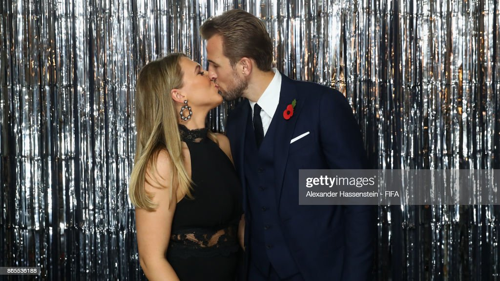 Harry Kane and his girlfriend Katie Goodland are pictured inside the photo booth prior to The Best FIFA Football Awards at The London Palladium on October 23, 2017 in London, England.
