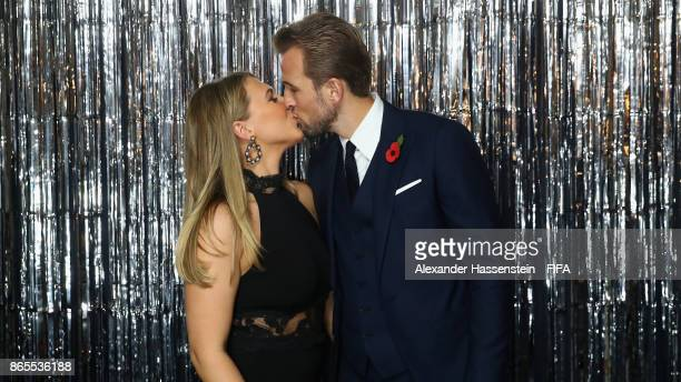 Harry Kane and his girlfriend Katie Goodland are pictured inside the photo booth prior to The Best FIFA Football Awards at The London Palladium on...