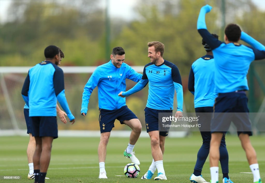 Harry Kane and Hugo Lloris of Tottenham Hotspur during a Tottenham Hotspur Training Session on April 13, 2017 in Enfield, England.