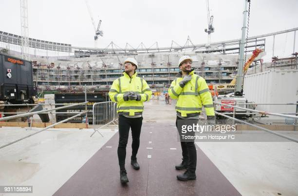 Harry Kane and Hugo Lloris of Tottenham Hotspur visit the new Tottenham Hotspur Stadium site at White Hart Lane on March 4 2018 in London England
