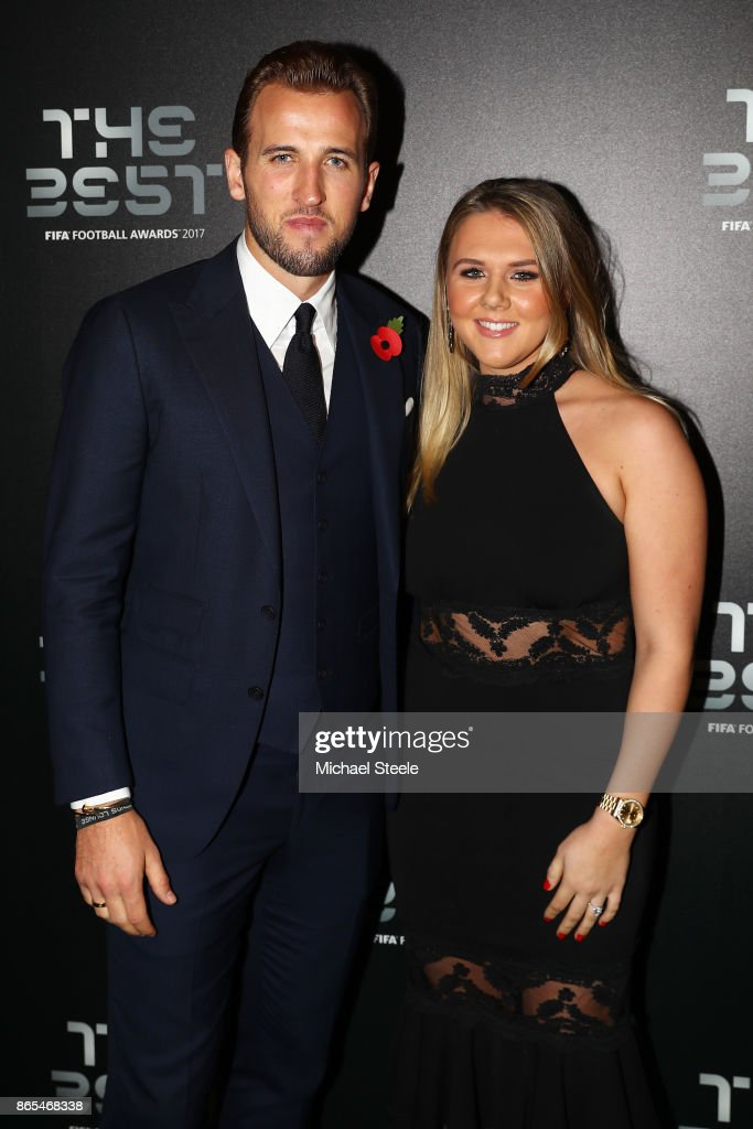 Harry Kane and Katie Goodland arrive for The Best FIFA Football Awards - Green Carpet Arrivals on October 23, 2017 in London, England.