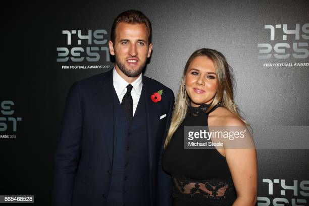 Harry Kane and Katie Goodland arrive for The Best FIFA Football Awards Green Carpet Arrivals on October 23 2017 in London England