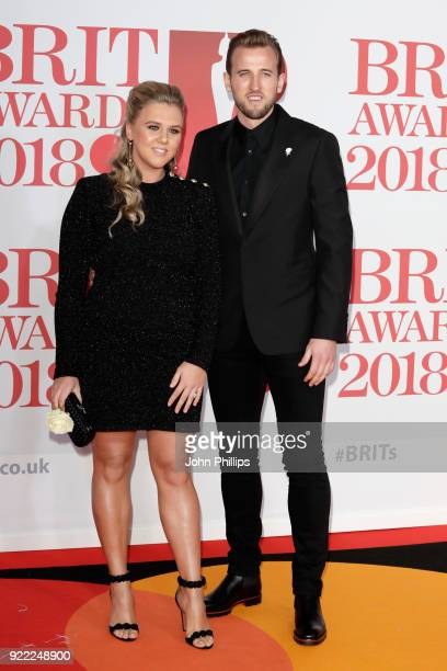 AWARDS 2018*** Harry Kane and Katie Goodland attend The BRIT Awards 2018 held at The O2 Arena on February 21 2018 in London England