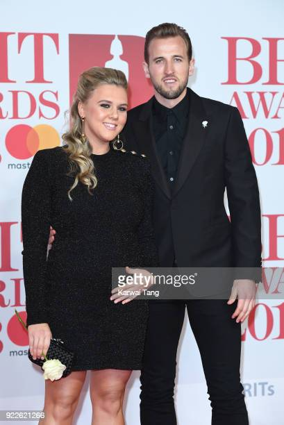AWARDS 2018 *** Harry Kane and Katie Goodland attend The BRIT Awards 2018 held at The O2 Arena on February 21 2018 in London England