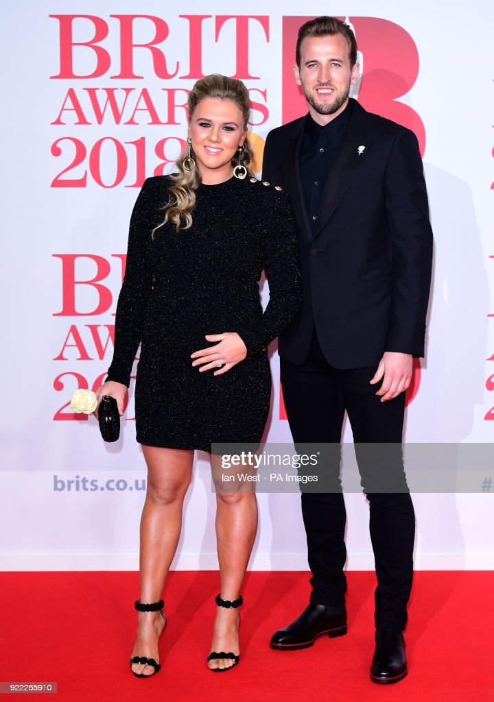 Harry Kane and Katie Goodland attending the Brit Awards at the O2 Arena, London.