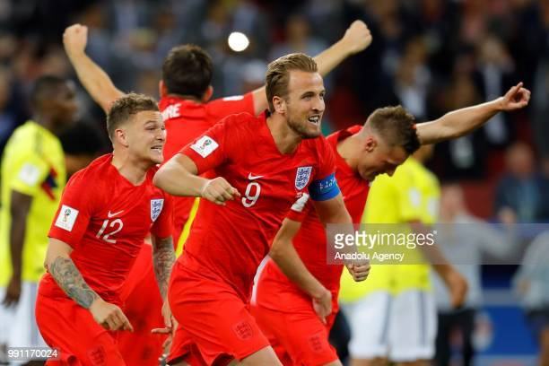 Harry Kane and Kieran Trippier of England celebrate after the 2018 FIFA World Cup Russia Round of 16 match between Colombia and England at the...
