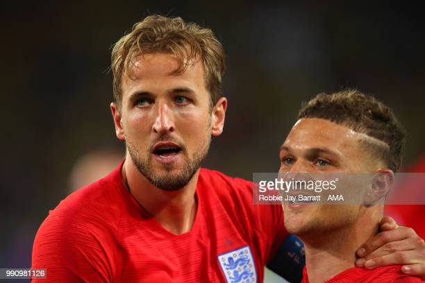 Harry Kane and Kieran Trippier of England celebrate their team's victory in a penalty shootout at the end of extra time during the 2018 FIFA World...