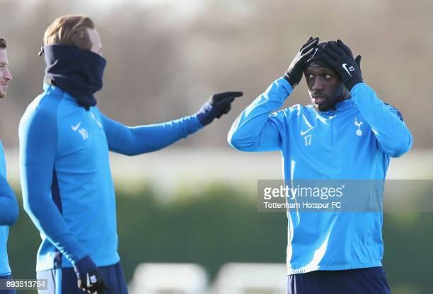 Harry Kane and Moussa Sissoko of Tottenham Hotspur during the Tottenham Hotspur training session at Tottenham Hotspur Training Centre on December 15...