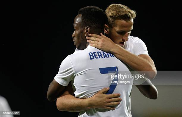 Harry Kane and Saido Berahino of England after the second goal during the Moldova v England UEFA U21 Championship Qualifier 2015 match at Stadionul...