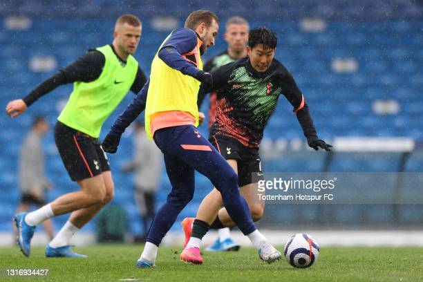 Harry Kane and Son Heung-Min of Tottenham Hotspur warms up prior to the Premier League match between Leeds United and Tottenham Hotspur at Elland...
