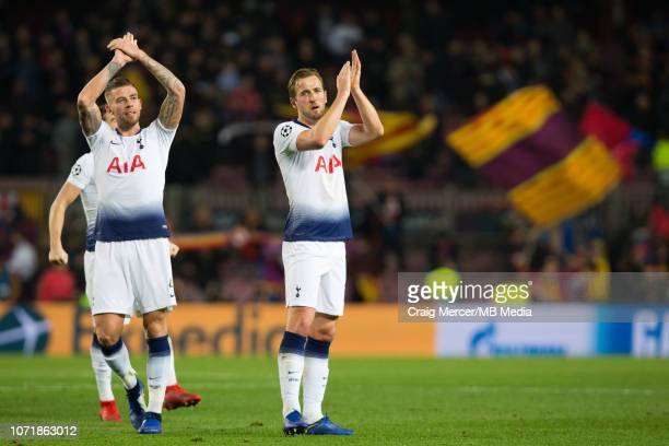 Harry Kane and Toby Alderweireld of Tottenham Hotspur applauds the fans at the final whistle during the UEFA Champions League Group B match between...