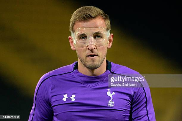 Harry Kane attends the Tottenham Hotspur FC training session prior to the UEFA Europa League match between Borussia Dortmund and Tottenham Hotspur FC...