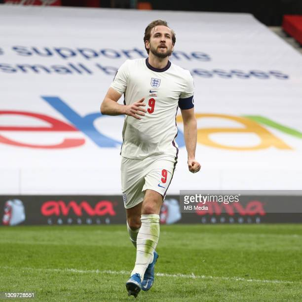 Harry Kane celebrates after opening the scoring for England during the FIFA World Cup 2022 Qatar qualifying match between Albania and England at the...
