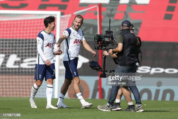 Harry Kane congratulates teammate HeungMin Son of Tottenham Hotspur after he scored four times in his sides 52 victory during the Premier League...