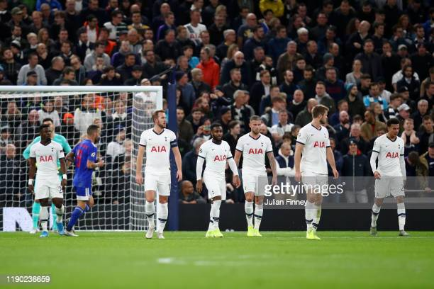 Harry Kane, Danny Rose, Toby Alderweireld, Eric Dier and Dele Alli of Tottenham Hotspur react during the UEFA Champions League group B match between...