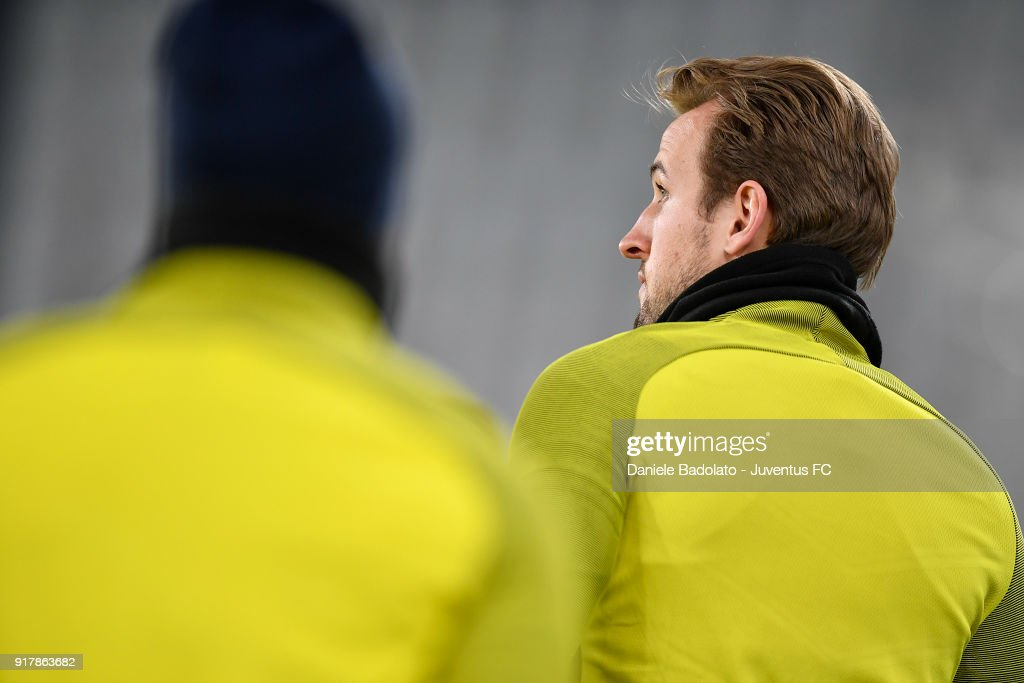 Harry Kane during the Champions League Tottenham FC training session at Allianz Stadium on February 12, 2018 in Turin, Italy.