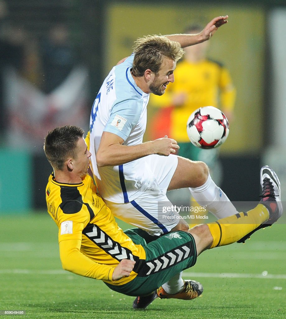 Harry Kane during the FIFA 2018 World Cup Qualifier between Lithuania and England on October 8, 2017 in Vilnius, Lithuania.