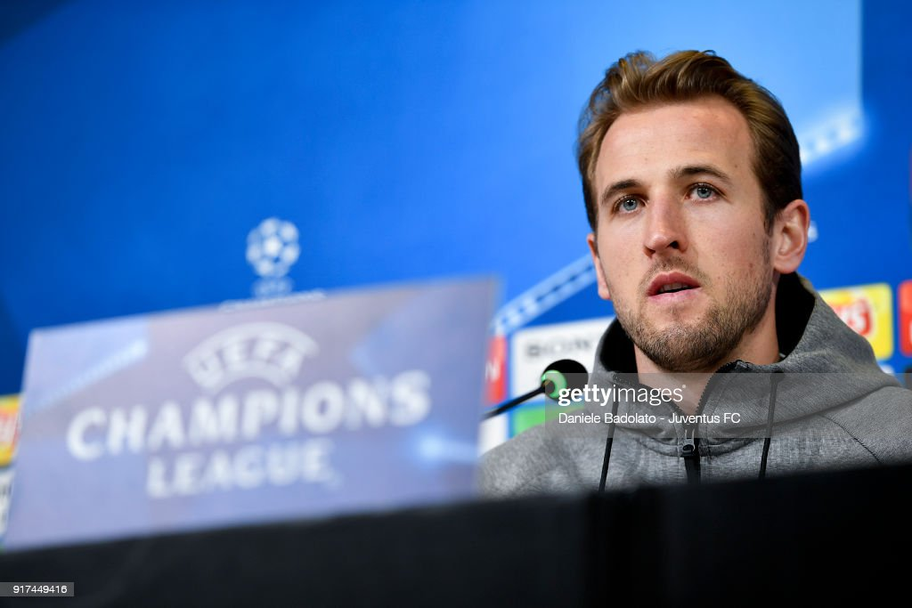 Harry Kane during the Tottenham FC Champions League Press Conference at Allianz Stadium on February 12, 2018 in Turin, Italy.