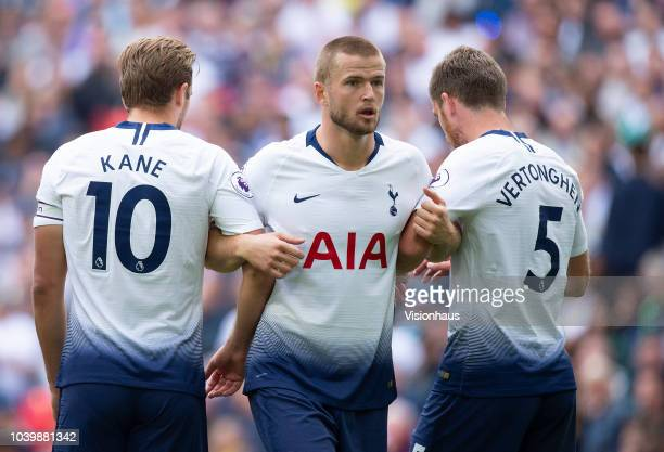 Harry Kane Eric Dier and Jan Vertonghen of Tottenham Hotspur form the defensive wall for a Liverpool free kick during the Premier League match...