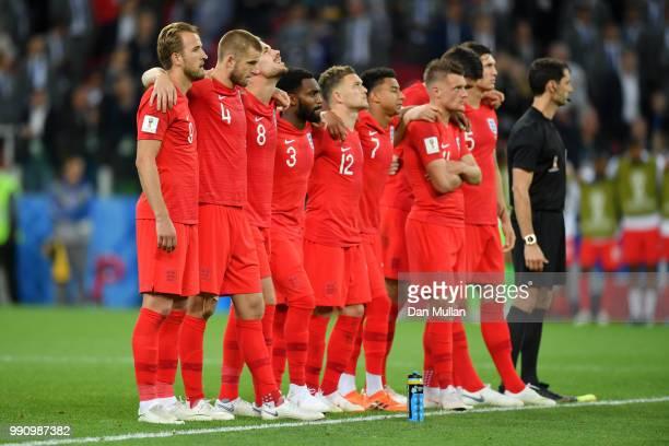 Harry Kane Eric Dier Jordan Henderson Danny Rose Kieran Trippier Jesse LingardJamie Vardy Harry Maguire and John Stones of England look on at the...