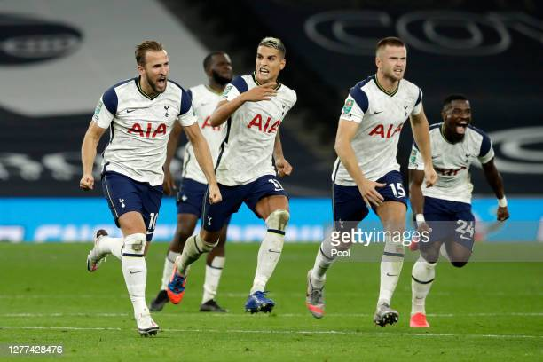 Harry Kane Erik Lamela and Eric Dier of Tottenham Hotspur celebrate following their team's victory in in the penalty shoot out and the Carabao Cup...