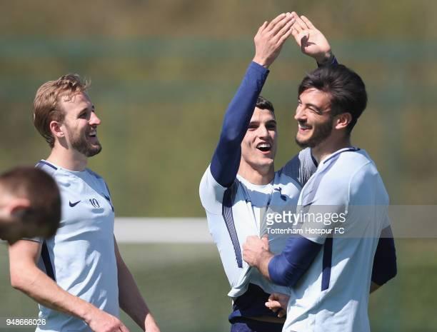 Harry Kane Erik Lamela and Paulo Gazzaniga joke during the Tottenham Hotspur Training Session at Tottenham Hotspur Training Centre on April 19 2018...