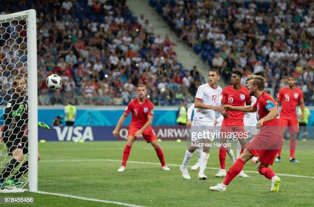 Harry Kane heads in to score his sides second goal during the 2018 FIFA World Cup Russia group G match between Tunisia and England at Volgograd Arena...
