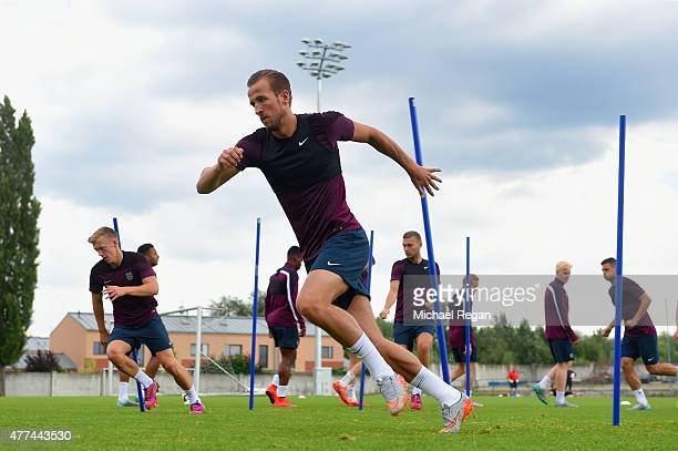 Harry Kane in action during the England U21 training session on June 17 2015 in Olomouc Czech Republic