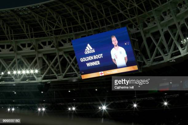 Harry Kane is shown as the golden boot winner on the big screen in the stadium following the 2018 FIFA World Cup Final between France and Croatia at...