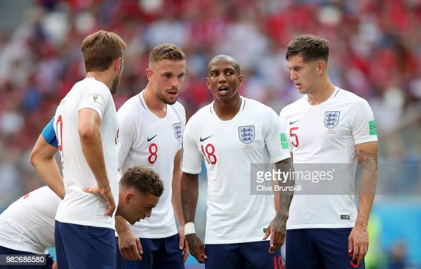 Harry Kane Kieran Trippier Jordan Henderson Ashley Young and John Stones of England during the 2018 FIFA World Cup Russia group G match between...