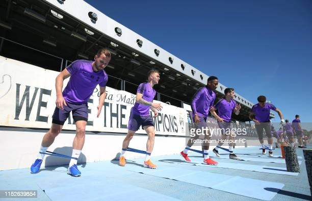 Harry Kane Kieran Trippier Kyle WalkerPeters Harry Winks and Dele Alli of Tottenham Hotspur during the Tottenham Hotspur training session at Real...