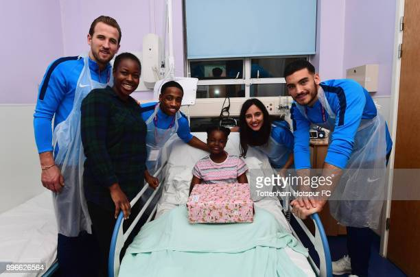 Harry Kane Kyle WalkerPeters Maya Vio and Paulo Gazzaniga meet a young patient during a Tottenham Hotspur player visit at Whipps Cross Hospital on...