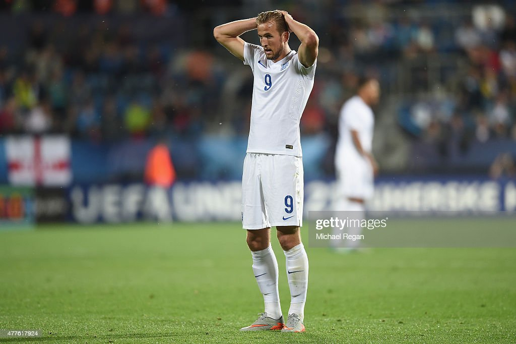 Harry Kane looks dejected during the UEFA Under21 European Championship 2015 Group B match between England and Portugal at Mestsky Fotbalovy Stadium on June 18, 2015 in Uherske Hradiste, Czech Republic.