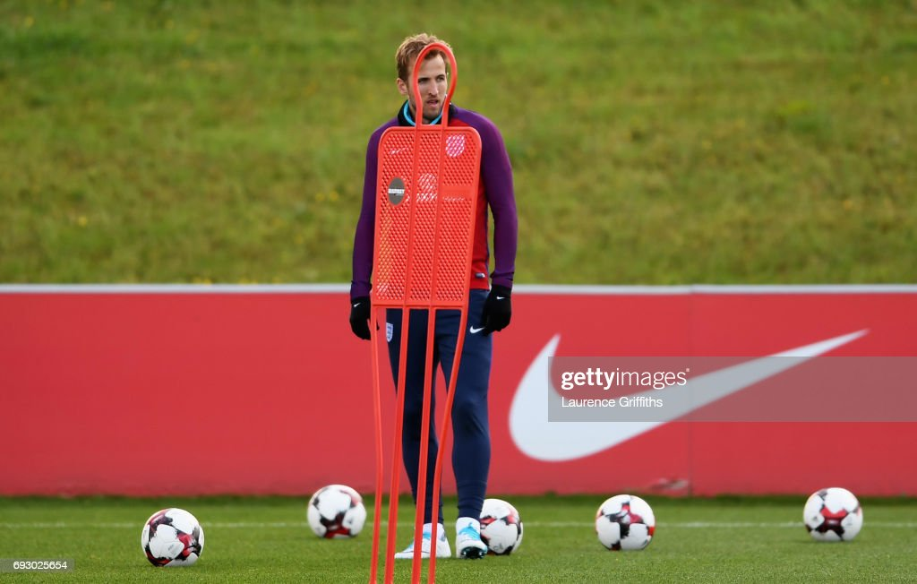 Harry Kane looks on during a training session as part of England media access at St George's Park on June 6, 2017 in Burton-upon-Trent, England.