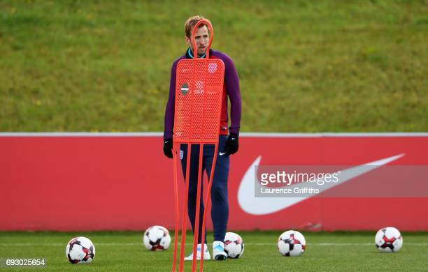 Harry Kane looks on during a training session as part of England media access at St George's Park on June 6 2017 in BurtonuponTrent England