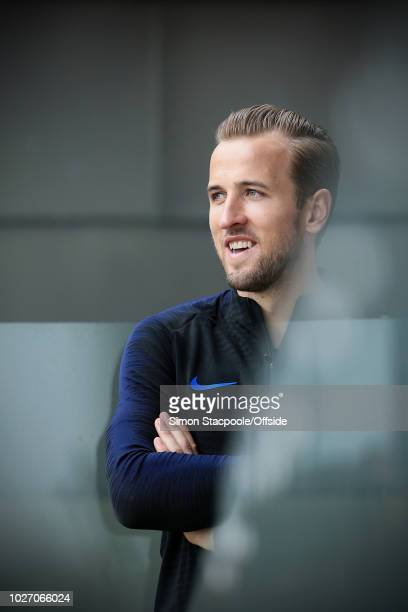 Harry Kane looks on during an England training session at St. George's Park on September 4, 2018 in Burton-upon-Trent, England.