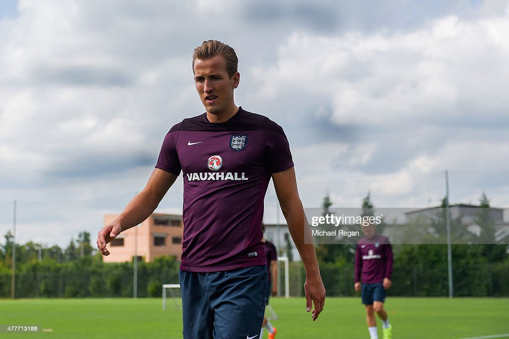 Harry Kane looks on during the England U21 training session and press conference on June 19, 2015 in Olomouc, Czech Republic.