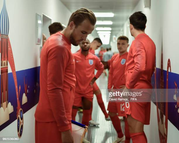 Harry Kane looks on from the tunnel priro to the 2018 FIFA World Cup Russia Round of 16 match between Colombia and England at Spartak Stadium on July...