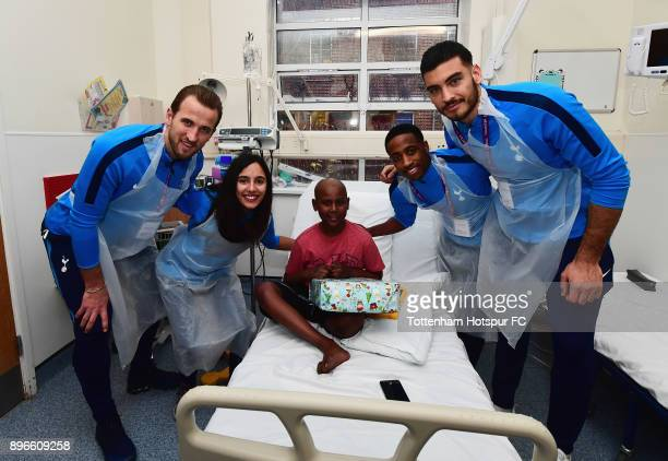 Harry Kane Maya Vio Kyle WalkerPeters and Paulo Gazzaniga meet a young patient during a Tottenham Hotspur player visit at Whipps Cross Hospital on...