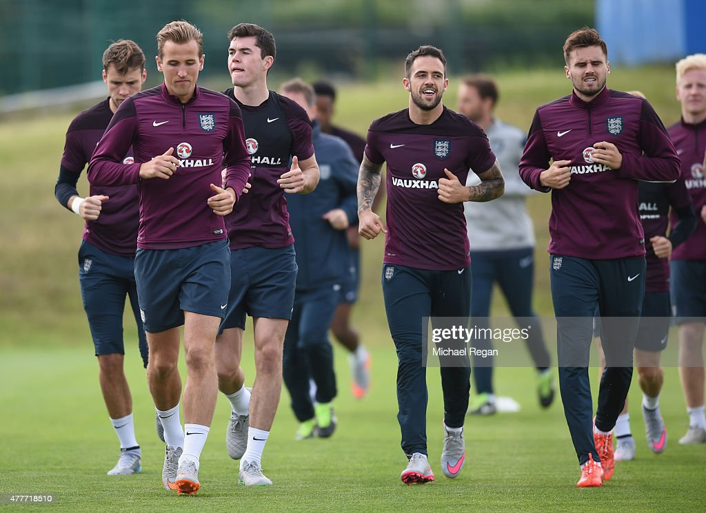Harry Kane, Michael Keane, Danny Ings and Carl Jenkinson in action during the England U21 training session and press conference on June 19, 2015 in Olomouc, Czech Republic.
