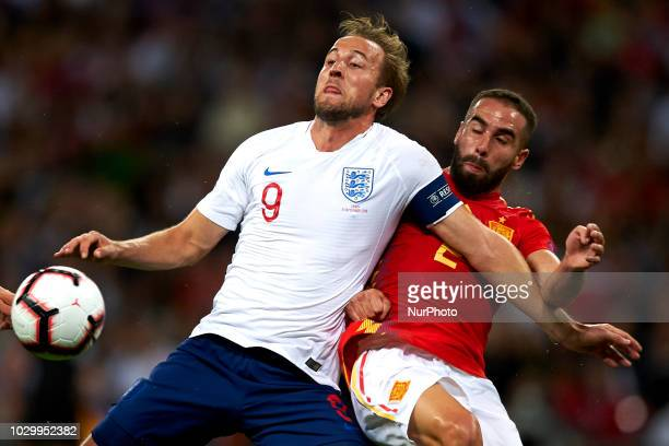 Harry Kane of England and Dani Carvajal of Spain battle for the ball during the UEFA Nations League football match between England and Spain at...