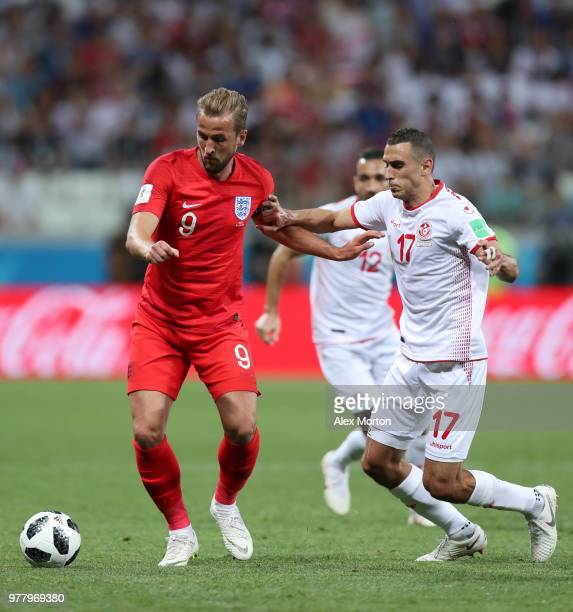 Harry Kane of England and Ellyes Skhiri of Tunisia battle for the ball during the 2018 FIFA World Cup Russia group G match between Tunisia and...