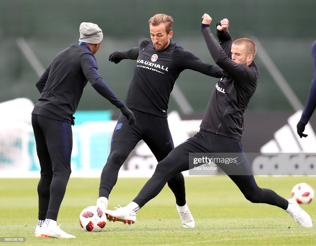 Harry Kane of England and Eric Dier of England battel for the ball during the England training session at the Stadium Spartak Zelenogorsk on July 2, 2018 in Saint Petersburg, Russia.