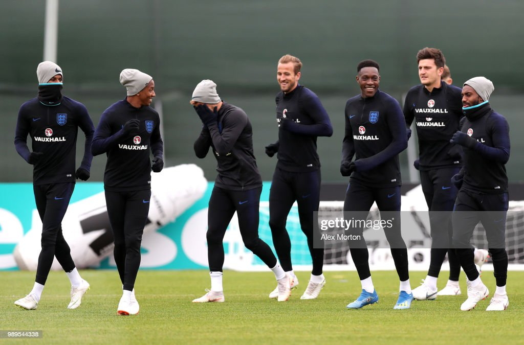 Harry Kane of England and his team mates enjoy the atmosphere at training during the England training session at the Stadium Spartak Zelenogorsk on July 2, 2018 in Saint Petersburg, Russia.