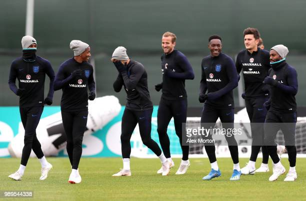 Harry Kane of England and his team mates enjoy the atmosphere at training during the England training session at the Stadium Spartak Zelenogorsk on...