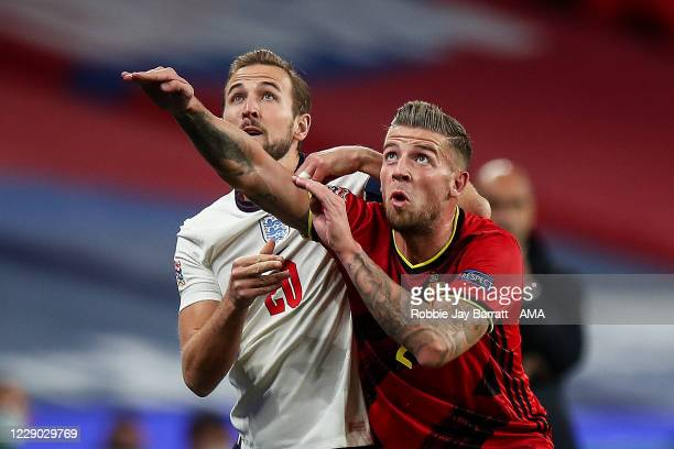 Harry Kane of England and Toby Alderweireld of Belgium during the UEFA Nations League group stage match between England and Belgium at Wembley...