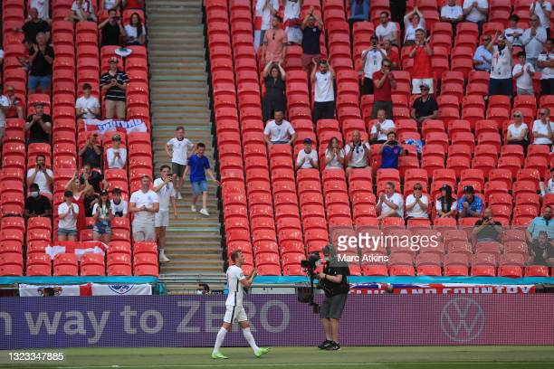 Harry Kane of England applauds fans as he is substituted off during the UEFA Euro 2020 Championship Group D match between England and Croatia at...