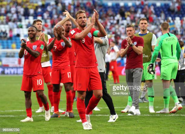 Harry Kane of England applauds the fans following his sides victory in the 2018 FIFA World Cup Russia Quarter Final match between Sweden and England...