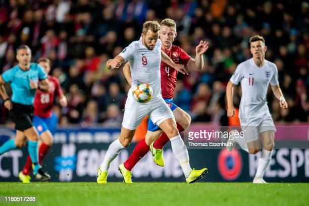 Harry Kane of England battles for the ball with Jakub Brabec of the Czech Republic during the UEFA Euro 2020 qualifier between Czech Republic and...